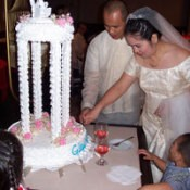 Photo of wedding couple and cake.