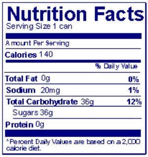 Nutrition facts label on food package.