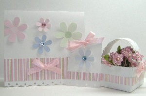 Paper Craft Gift Set - Card, tag, and basket.