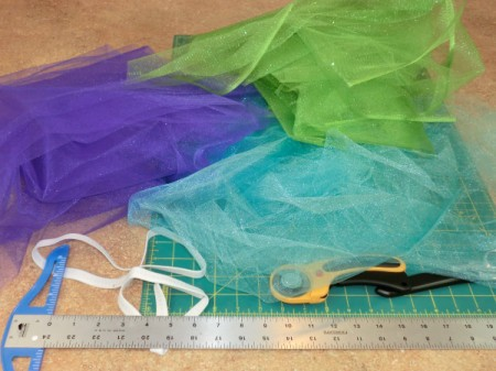 Supplies for making a no-sew Tutu.