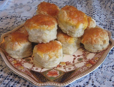 Grandma's biscuits with cheese topping.