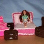 Barbie's Crocheted Bedroom Set -Complete bedroom suite.