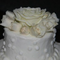 Closeup of a wedding cake top layer.