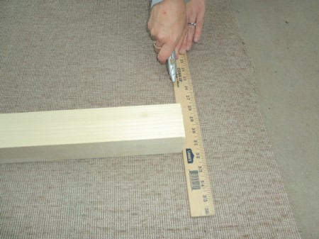 Measuring the carpet for the cat scratching post.