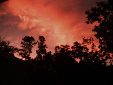 Red stormy sky.