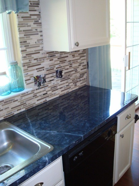 Dark Blue Granite Countertops Painting a laminate counter top ...