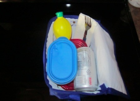 Lunch box with lemon squeeze bottle as ice pack.