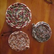 Braided and coiled fabric coasters.