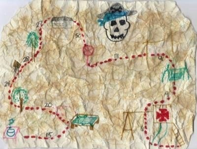 A handdrawn pirate treasure map.