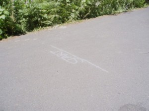 Chalk start line on sidewalk.
