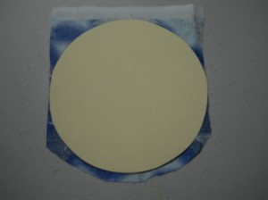 Template on fabric to trace circle.