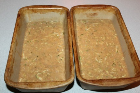 Zucchini Bread batter in two bread pans