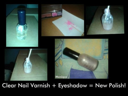 Nail polish made from eyeshadow