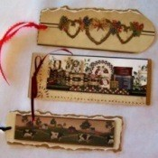 A bookmark made out of wallpaper scraps.