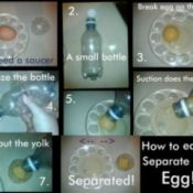 Step by step photos of separating an egg.