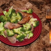 Plate of beef and broccoli.