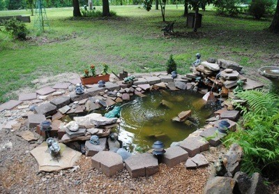 Building a garden pond thriftyfun for Diy pond liner ideas