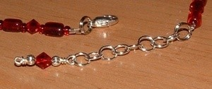 View of jump beads as adjustable clasp links.