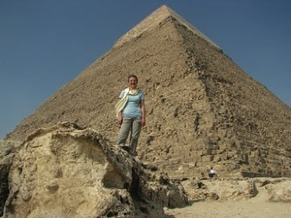 Julie at Giza pyramids.
