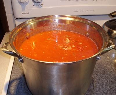 A pot of tomato sauce being cooked.