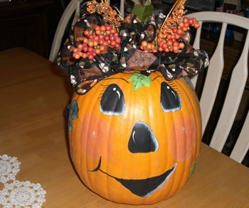 Decorated and painted pumpkin.
