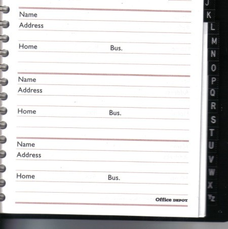 A blank address book