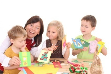 Woman Making Greeting Cards With Children