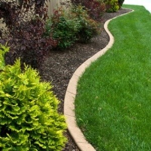Landscape edging between the garden and the lawn.