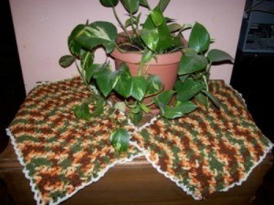 Crocheted placemats in Fall colors.