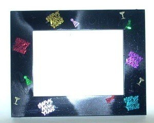 A frame decorated with confetti