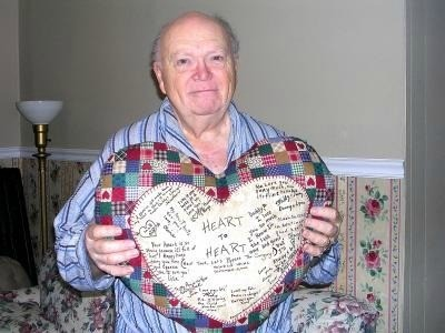 A signed heart as a hospital present.