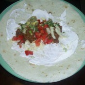 $10 Dinners: Soft Tacos - An assembled soft taco ready to be rolled