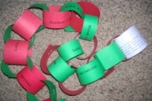 A paper chain counting down to Christmas