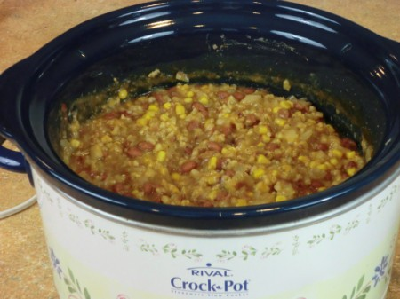 cooked soup in crockpot
