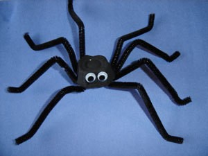 Section of egg carton and pipe cleaner spider.
