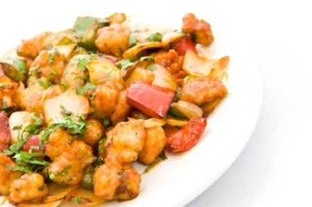 Sweet and Sour Chicken on White Plate