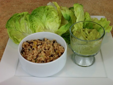 quinoa mixture with lettuce leaves
