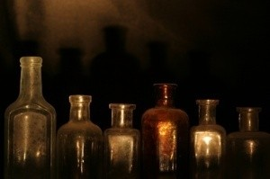 Photo of spooky bottles.