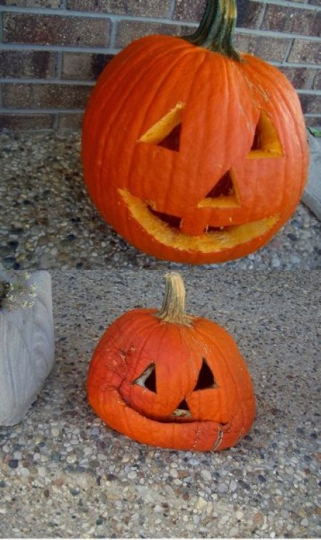 A pumpkin that sagged after being carved