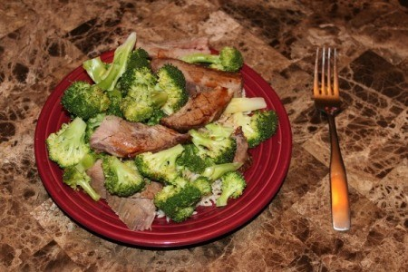 Photo of beef and broccoli.