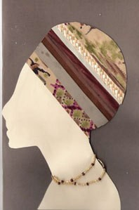 Silhouette of woman with ribbon turban.