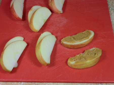peanut butter on apples