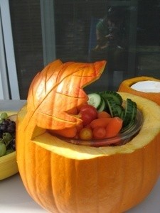 Pumpkin carved with a leaf motif for serving bowl.