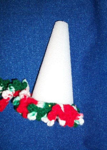 Wrapping crochet around cone.