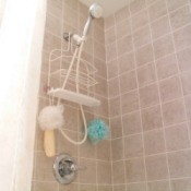 Photo of a shower and bathtub.