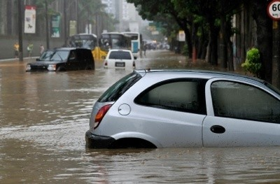 A car in a flooded street