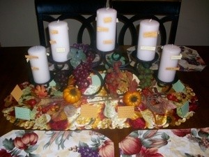 A thankful candle centerpiece for Thanksgiving