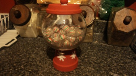 terra cotta flower pot gumball machine
