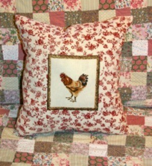 Rooster motif throw pillow.