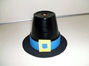 Clay pot pilgrim hat.